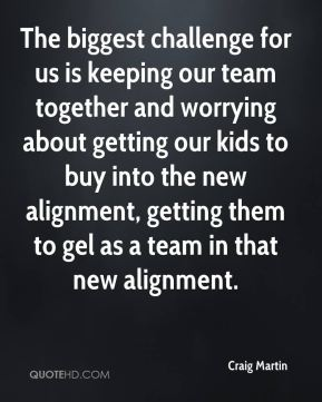 Craig Martin - The biggest challenge for us is keeping our team together and worrying about getting our kids to buy into the new alignment, getting them to gel as a team in that new alignment.