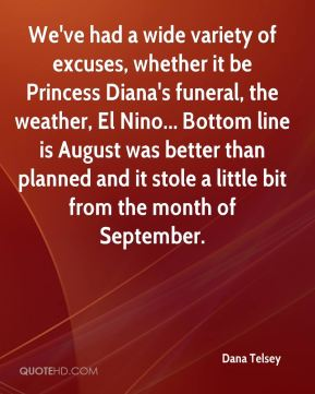 Dana Telsey - We've had a wide variety of excuses, whether it be Princess Diana's funeral, the weather, El Nino... Bottom line is August was better than planned and it stole a little bit from the month of September.