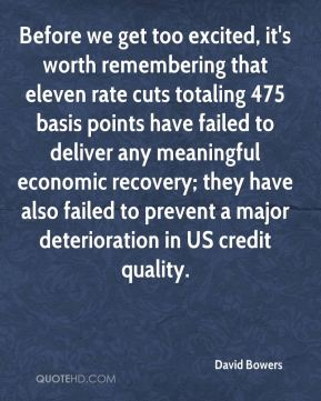 Before we get too excited, it's worth remembering that eleven rate cuts totaling 475 basis points have failed to deliver any meaningful economic recovery; they have also failed to prevent a major deterioration in US credit quality.