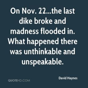 David Haynes - On Nov. 22...the last dike broke and madness flooded in. What happened there was unthinkable and unspeakable.