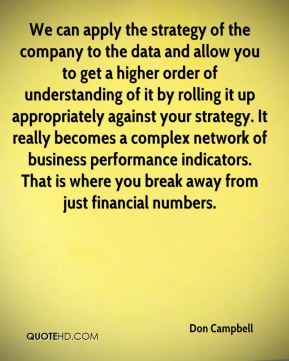 Don Campbell - We can apply the strategy of the company to the data and allow you to get a higher order of understanding of it by rolling it up appropriately against your strategy. It really becomes a complex network of business performance indicators. That is where you break away from just financial numbers.