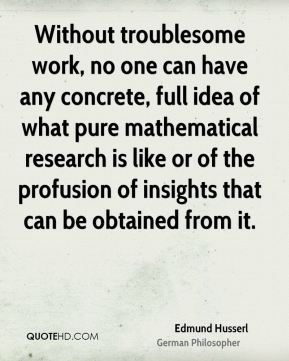 Without troublesome work, no one can have any concrete, full idea of what pure mathematical research is like or of the profusion of insights that can be obtained from it.