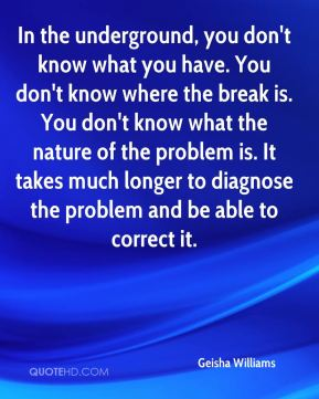 Geisha Williams - In the underground, you don't know what you have. You don't know where the break is. You don't know what the nature of the problem is. It takes much longer to diagnose the problem and be able to correct it.