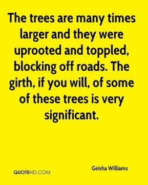 Geisha Williams - The trees are many times larger and they were uprooted and toppled, blocking off roads. The girth, if you will, of some of these trees is very significant.