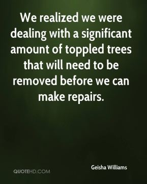 Geisha Williams - We realized we were dealing with a significant amount of toppled trees that will need to be removed before we can make repairs.