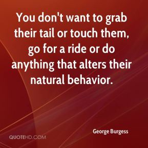George Burgess - You don't want to grab their tail or touch them, go for a ride or do anything that alters their natural behavior.