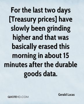 Gerald Lucas - For the last two days [Treasury prices] have slowly been grinding higher and that was basically erased this morning in about 15 minutes after the durable goods data.