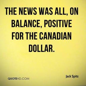 The news was all, on balance, positive for the Canadian dollar.