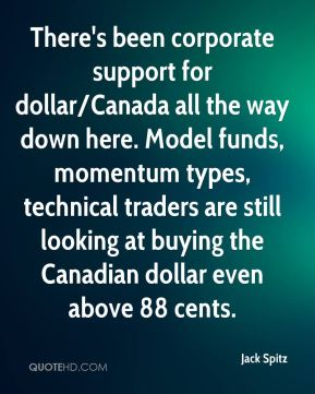 There's been corporate support for dollar/Canada all the way down here. Model funds, momentum types, technical traders are still looking at buying the Canadian dollar even above 88 cents.