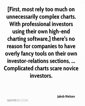 Jakob Nielsen - [First, most rely too much on unnecessarily complex charts. With professional investors using their own high-end charting software,] there's no reason for companies to have overly fancy tools on their own investor-relations sections, ... Complicated charts scare novice investors.