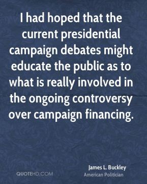 I had hoped that the current presidential campaign debates might educate the public as to what is really involved in the ongoing controversy over campaign financing.
