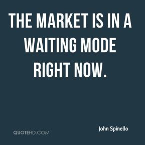 The market is in a waiting mode right now.