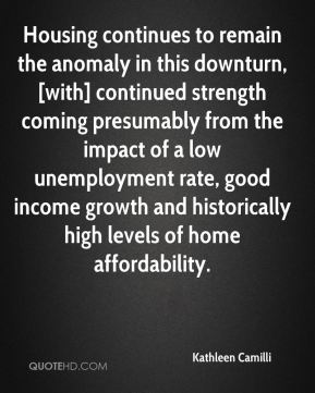 Housing continues to remain the anomaly in this downturn, [with] continued strength coming presumably from the impact of a low unemployment rate, good income growth and historically high levels of home affordability.