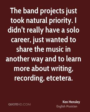 Ken Hensley - The band projects just took natural priority. I didn't really have a solo career, just wanted to share the music in another way and to learn more about writing, recording, etcetera.
