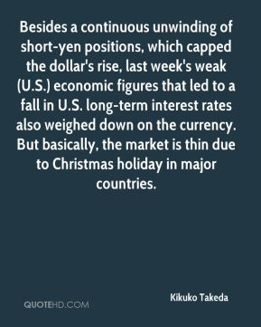 Besides a continuous unwinding of short-yen positions, which capped the dollar's rise, last week's weak (U.S.) economic figures that led to a fall in U.S. long-term interest rates also weighed down on the currency. But basically, the market is thin due to Christmas holiday in major countries.
