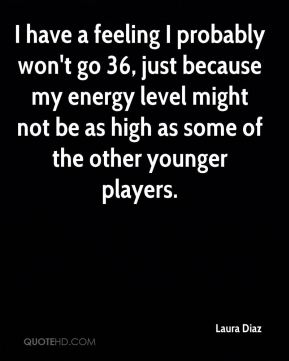 Laura Diaz  - I have a feeling I probably won't go 36, just because my energy level might not be as high as some of the other younger players.