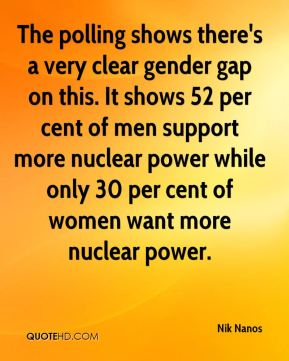 Nik Nanos  - The polling shows there's a very clear gender gap on this. It shows 52 per cent of men support more nuclear power while only 30 per cent of women want more nuclear power.