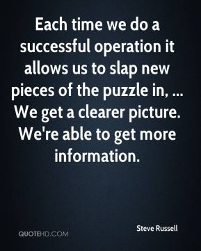 Steve Russell  - Each time we do a successful operation it allows us to slap new pieces of the puzzle in, ... We get a clearer picture. We're able to get more information.