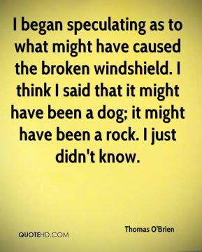 Thomas O'Brien  - I began speculating as to what might have caused the broken windshield. I think I said that it might have been a dog; it might have been a rock. I just didn't know.