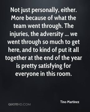 Not just personally, either. More because of what the team went through. The injuries, the adversity ... we went through so much to get here, and to kind of put it all together at the end of the year is pretty satisfying for everyone in this room.
