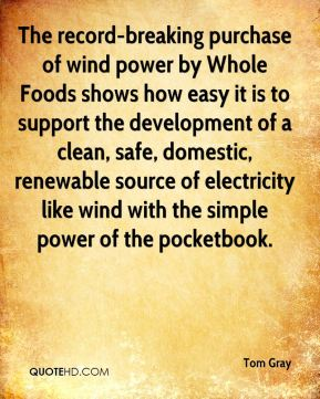 The record-breaking purchase of wind power by Whole Foods shows how easy it is to support the development of a clean, safe, domestic, renewable source of electricity like wind with the simple power of the pocketbook.