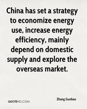 China has set a strategy to economize energy use, increase energy efficiency, mainly depend on domestic supply and explore the overseas market.