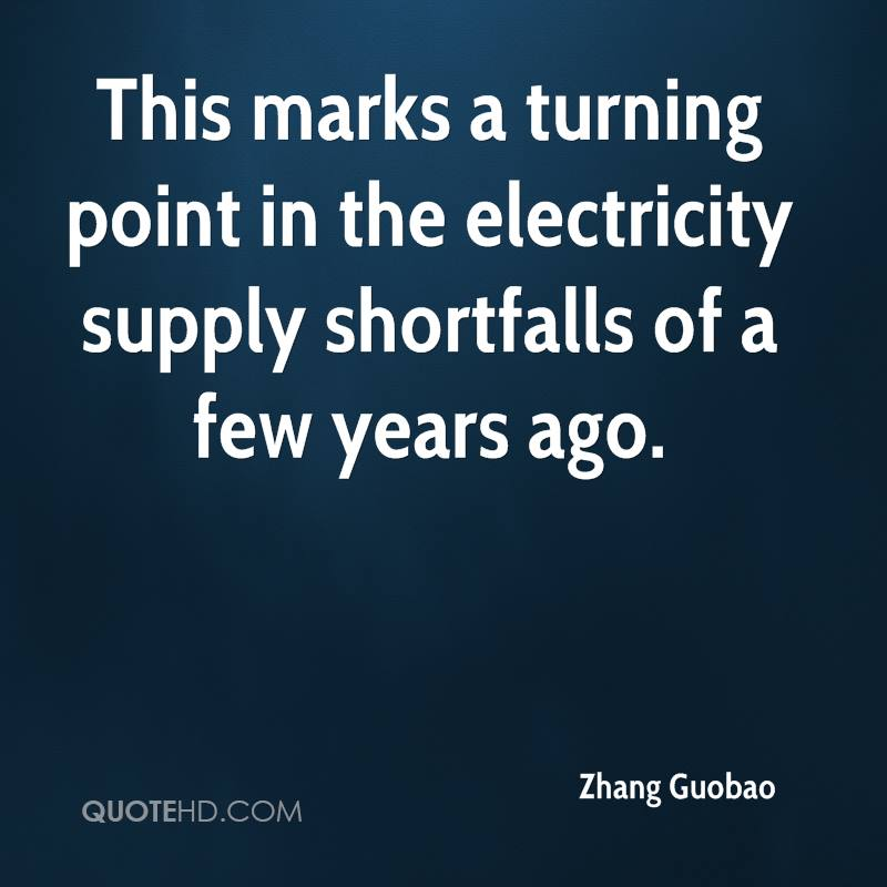 This marks a turning point in the electricity supply shortfalls of a few years ago.