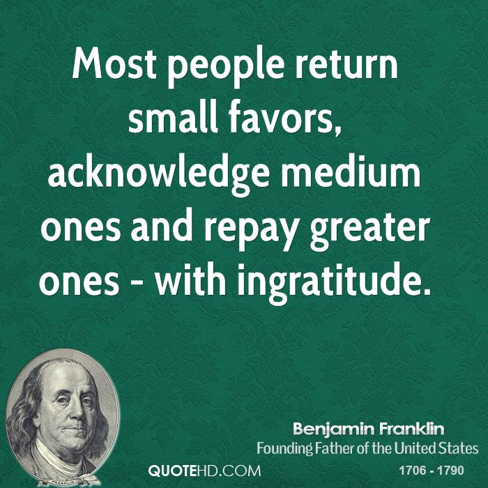Most people return small favors, acknowledge medium ones and repay greater ones - with ingratitude.