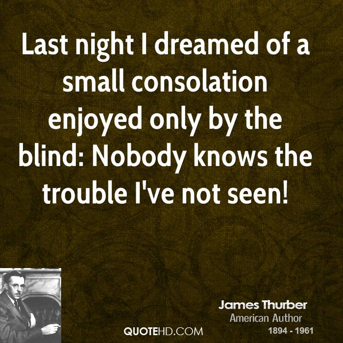 Last night I dreamed of a small consolation enjoyed only by the blind: Nobody knows the trouble I've not seen!