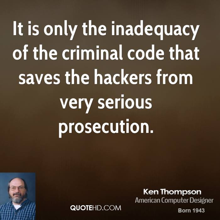 It is only the inadequacy of the criminal code that saves the hackers from very serious prosecution.