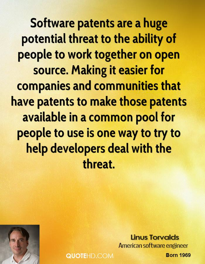 Software patents are a huge potential threat to the ability of people to work together on open source. Making it easier for companies and communities that have patents to make those patents available in a common pool for people to use is one way to try to help developers deal with the threat.