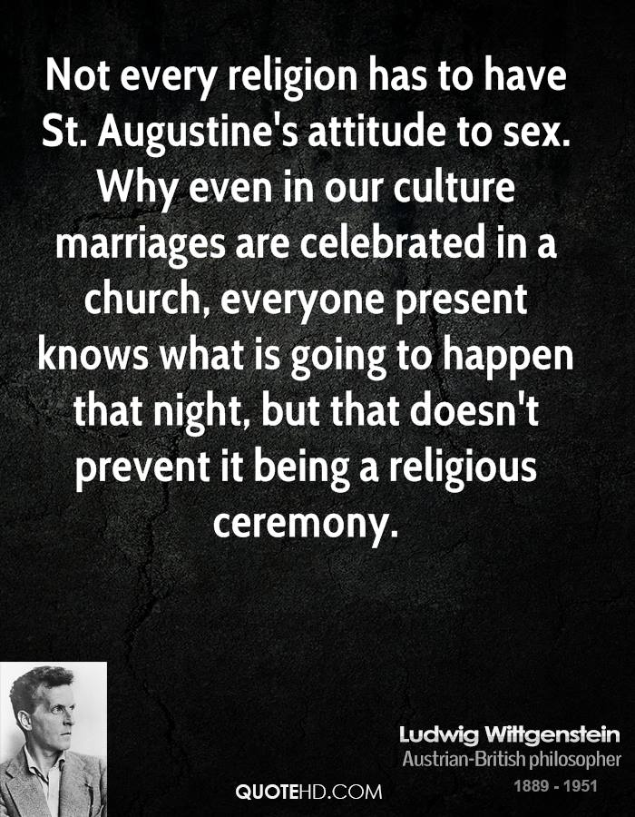 Not every religion has to have St. Augustine's attitude to sex. Why even in our culture marriages are celebrated in a church, everyone present knows what is going to happen that night, but that doesn't prevent it being a religious ceremony.