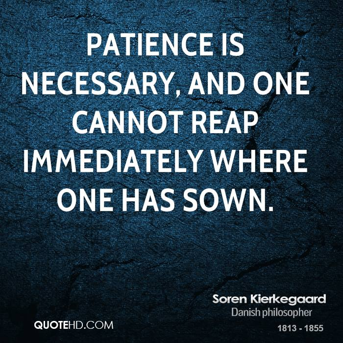 Patience is necessary, and one cannot reap immediately where one has sown.