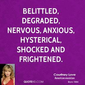 belittled, degraded, nervous, anxious, hysterical, shocked and frightened.
