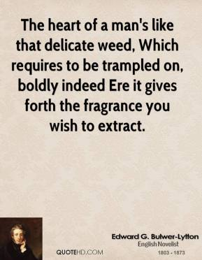Edward G. Bulwer-Lytton - The heart of a man's like that delicate weed, Which requires to be trampled on, boldly indeed Ere it gives forth the fragrance you wish to extract.