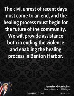 The civil unrest of recent days must come to an end, and the healing process must begin for the future of the community. We will provide assistance both in ending the violence and enabling the healing process in Benton Harbor.