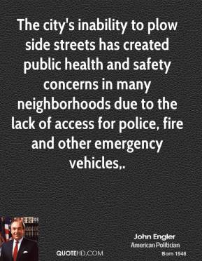 The city's inability to plow side streets has created public health and safety concerns in many neighborhoods due to the lack of access for police, fire and other emergency vehicles.