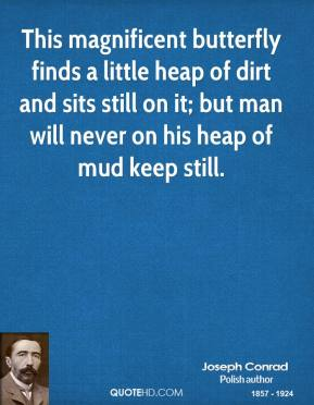 Joseph Conrad - This magnificent butterfly finds a little heap of dirt and sits still on it; but man will never on his heap of mud keep still.