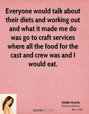 Everyone would talk about their diets and working out and what it made me do was go to craft services where all the food for the cast and crew was and I would eat.