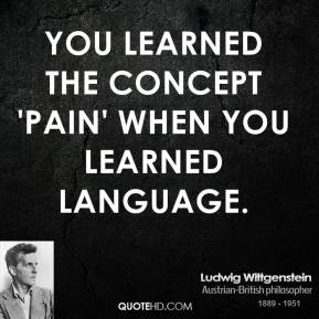 You learned the concept 'pain' when you learned language.