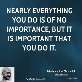 Mohandas Gandhi - Nearly everything you do is of no importance, but it is important that you do it.
