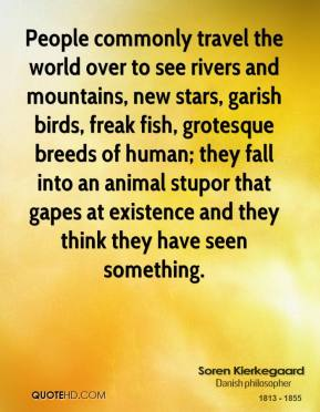 Soren Kierkegaard - People commonly travel the world over to see rivers and mountains, new stars, garish birds, freak fish, grotesque breeds of human; they fall into an animal stupor that gapes at existence and they think they have seen something.
