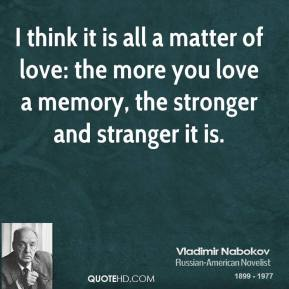 I think it is all a matter of love: the more you love a memory, the stronger and stranger it is.