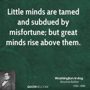 Washington Irving - Little minds are tamed and subdued by misfortune; but great minds rise above them.
