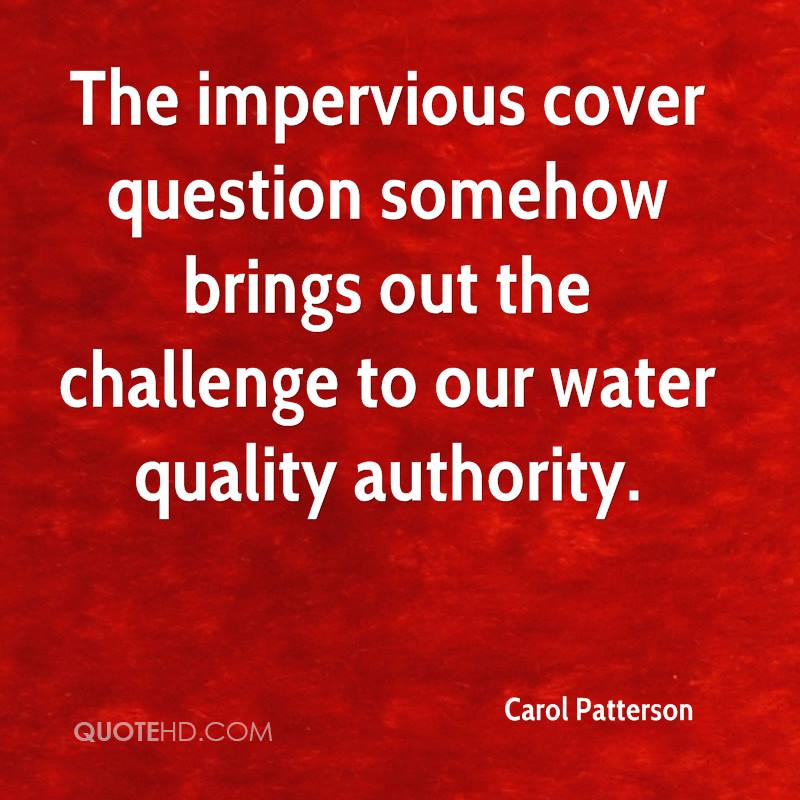 The impervious cover question somehow brings out the challenge to our water quality authority.