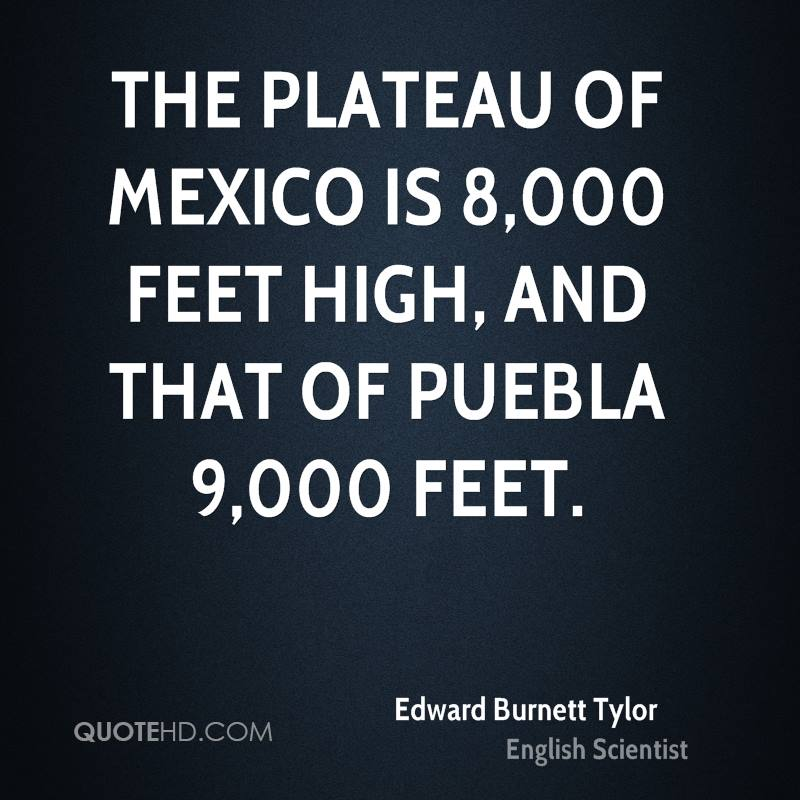The plateau of Mexico is 8,000 feet high, and that of Puebla 9,000 feet.