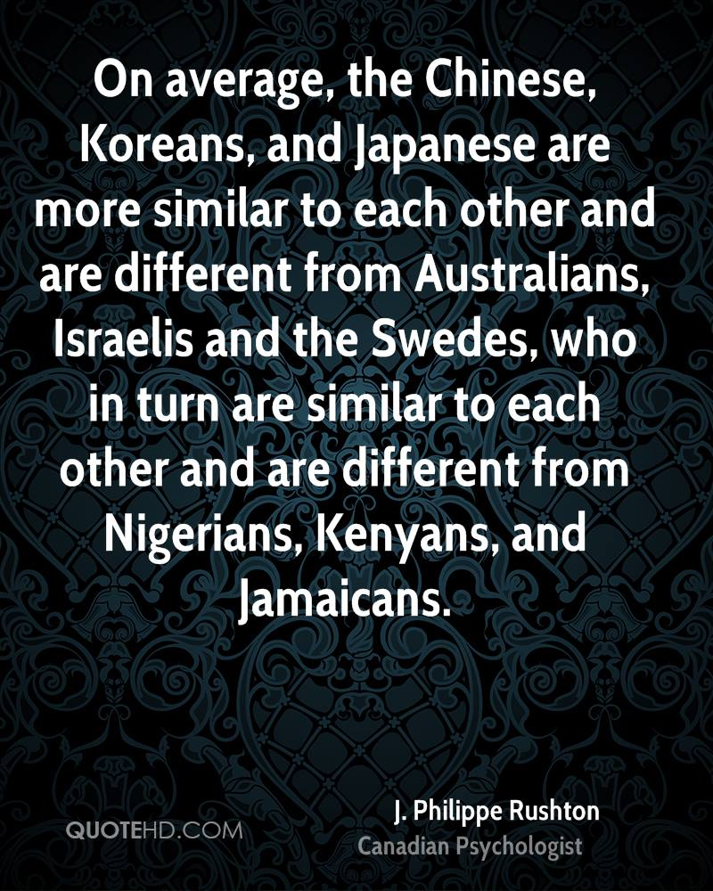 On average, the Chinese, Koreans, and Japanese are more similar to each other and are different from Australians, Israelis and the Swedes, who in turn are similar to each other and are different from Nigerians, Kenyans, and Jamaicans.