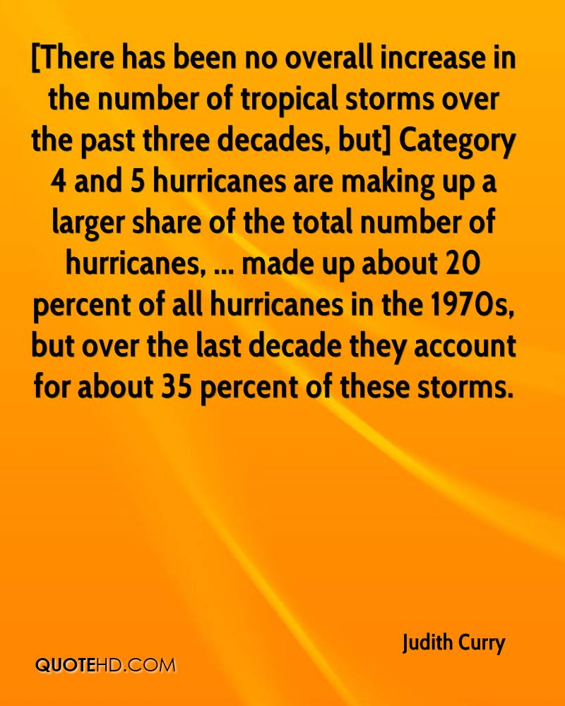[There has been no overall increase in the number of tropical storms over the past three decades, but] Category 4 and 5 hurricanes are making up a larger share of the total number of hurricanes, ... made up about 20 percent of all hurricanes in the 1970s, but over the last decade they account for about 35 percent of these storms.