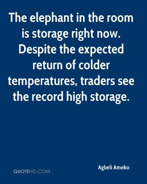 Agbeli Ameko - The elephant in the room is storage right now. Despite the expected return of colder temperatures, traders see the record high storage.