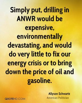 Simply put, drilling in ANWR would be expensive, environmentally devastating, and would do very little to fix our energy crisis or to bring down the price of oil and gasoline.